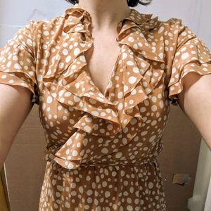 Polka Dot Silk Wrap Dress w Ruffle Neck